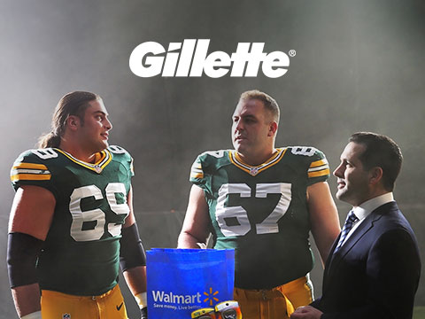 Gillette case study cover photo with NFL players