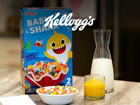Case study cover image, with Kellogg's baby shark cereal