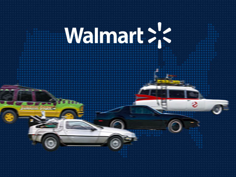 Cover image for Walmart Famous Cars case study, with Jurassic Park, Delorian, Ecto-1, and K.I.T.T.